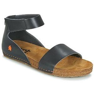 Art CRETA Black Genuine Leather Ankle Strap Sandal